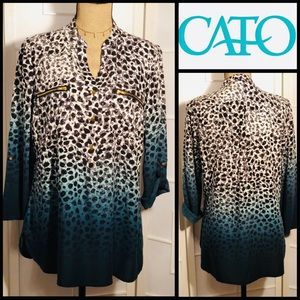 CATO Animal Print Teal Ombre' Blouse
